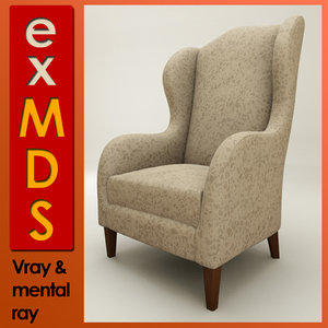 wingback chair 3d max
