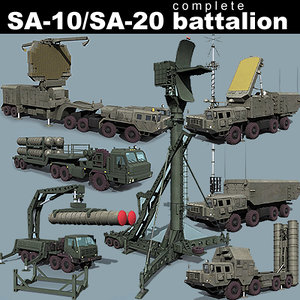 sa-10 sa-20 battalion transporter 3d model