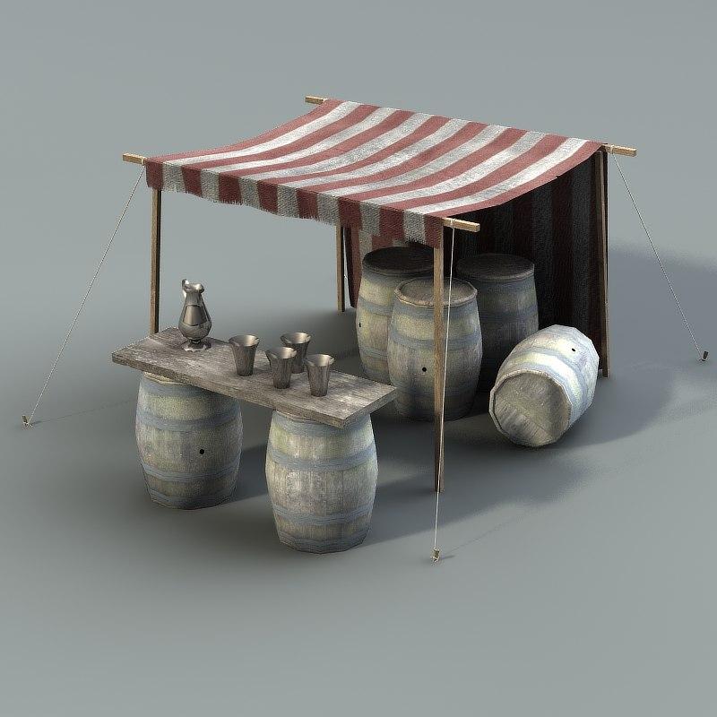 lwo market stall wine