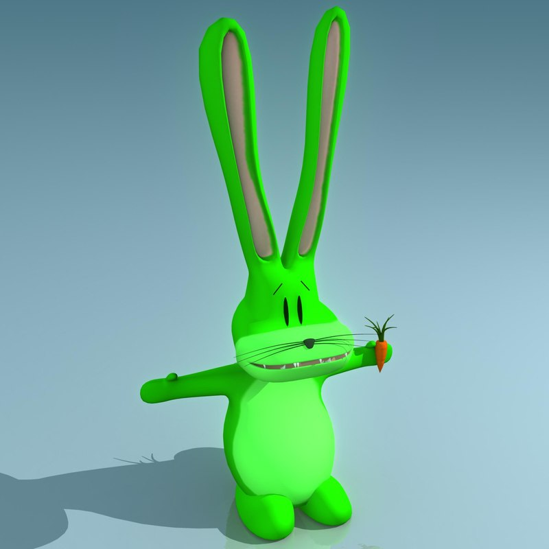 3d model nuclear jackrabbit cartoon rabbit
