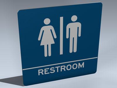 3d model restrooms sign