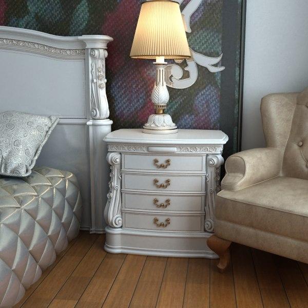 3d model baroque nightstand curbstone