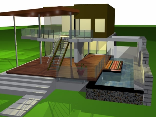 3ds max pool house