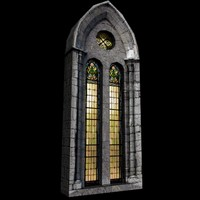 medieval castle stained-glass 3d max