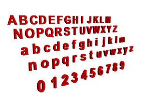 3d model alphabet numbers letters