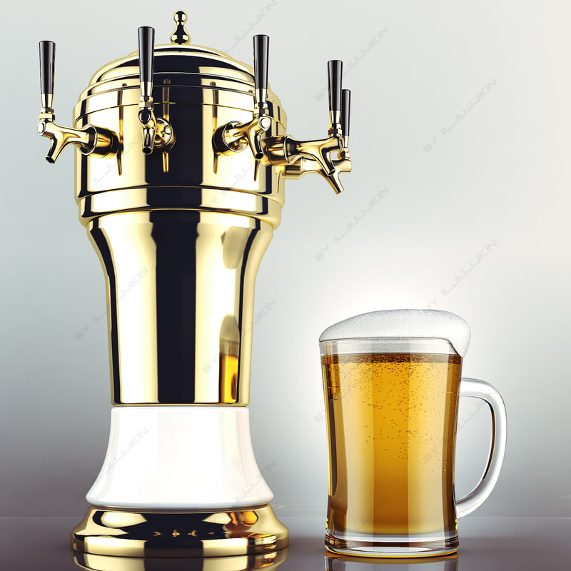 draft beer tower glass 3d max