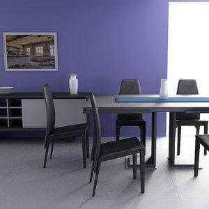 dining room interior 01c 3d model