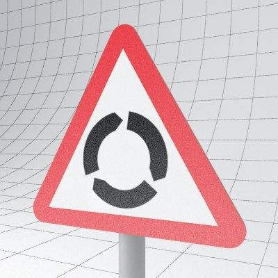 traffic roundabout - sign 3d max