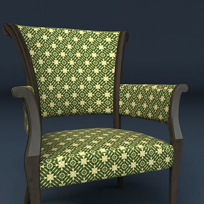 3d model of biedermeier armchair