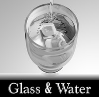 3d model of glass water