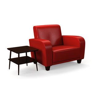 obj designer armchair table