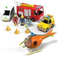 Game emergency rescue playset kit toy kid children fire fireman car vehicle helicopter ambulance jeep
