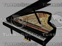 3d model black concert piano