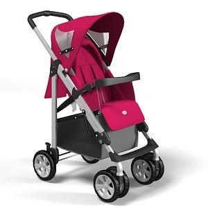 3ds max perambulator babycarriage baby