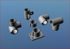 tube fittings pipe angles 3d model