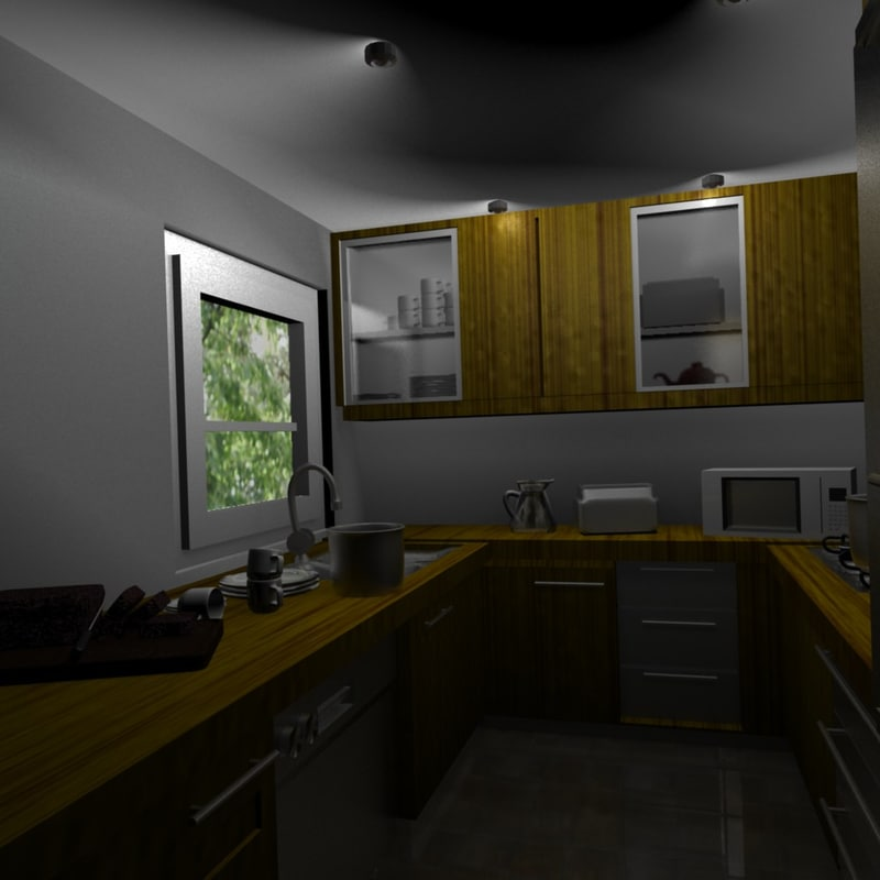 free kitchen blender scene 3d model