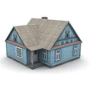 3d russian wood house