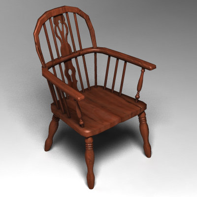 realistic wooden chair 3d model
