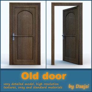 3d model wooden old door