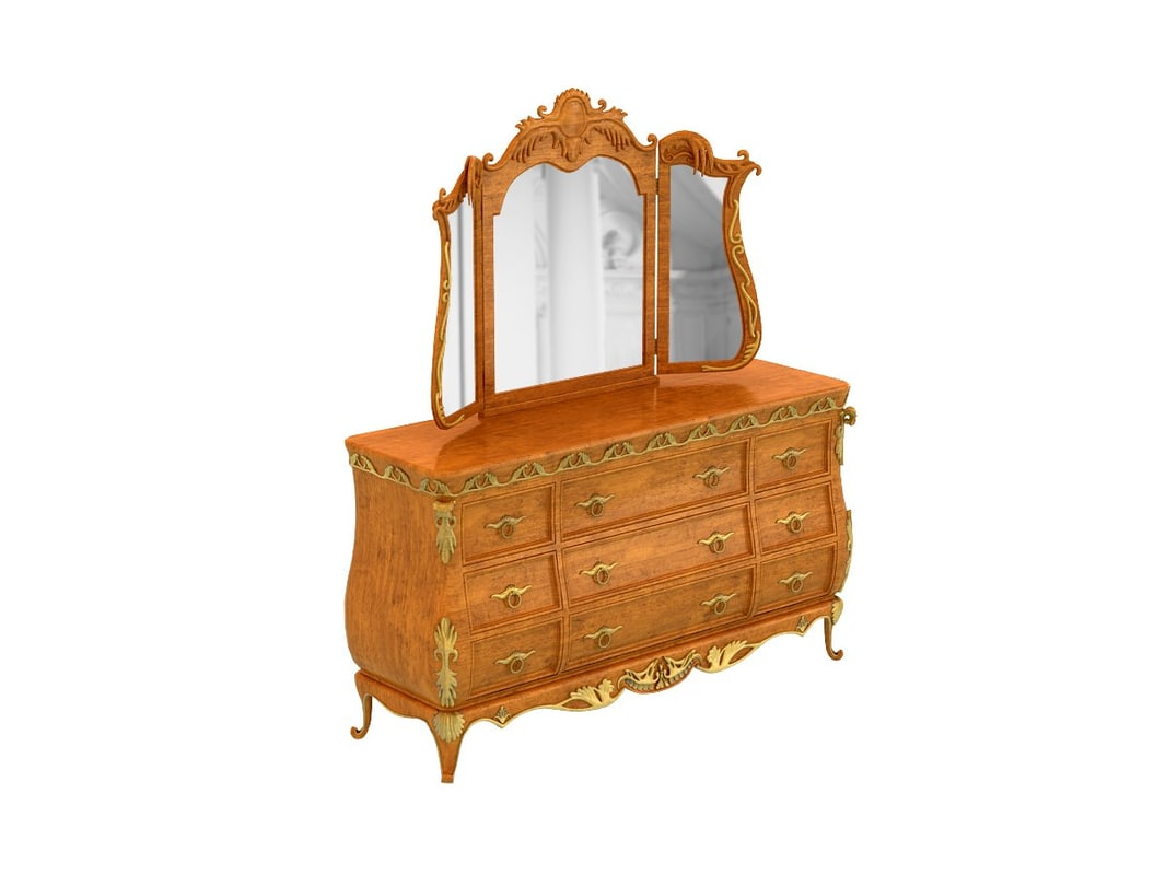 versailles dresser tri-view mirror 3d model