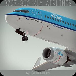 3d boeing 737-800 plane klm