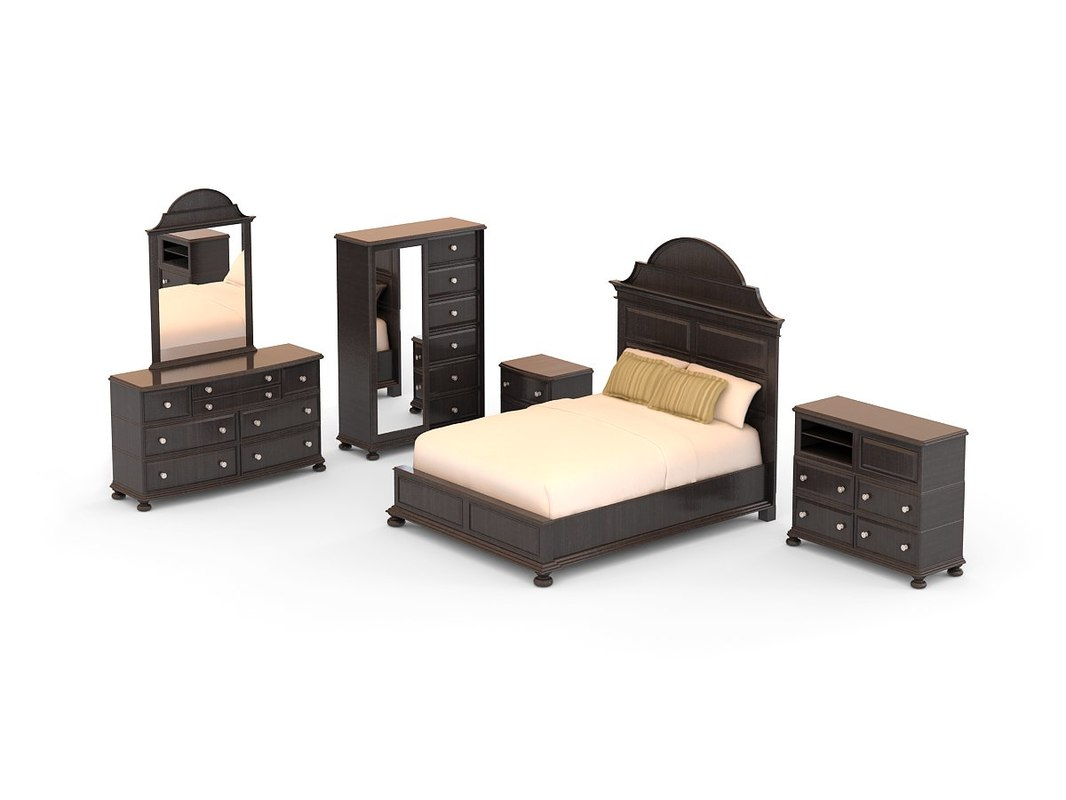 3d model bedroom set - north