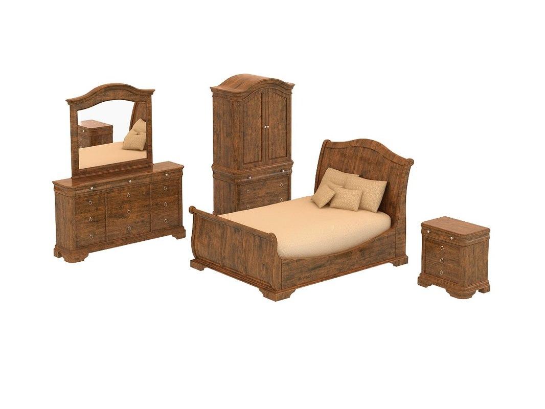 3ds max bedroom set - vintage