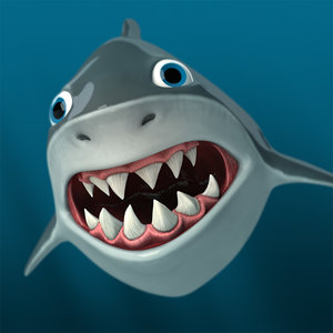 shark cartoon 3d model