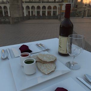 restaurant table - 3d model