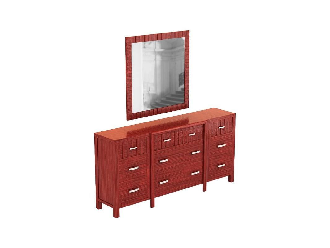 3d model vista dresser mirror sets