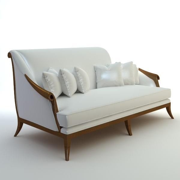 3d italian modern bench