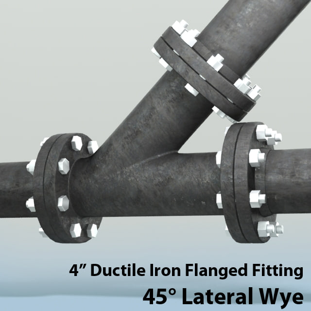 3d obj 4in lateral wye piping