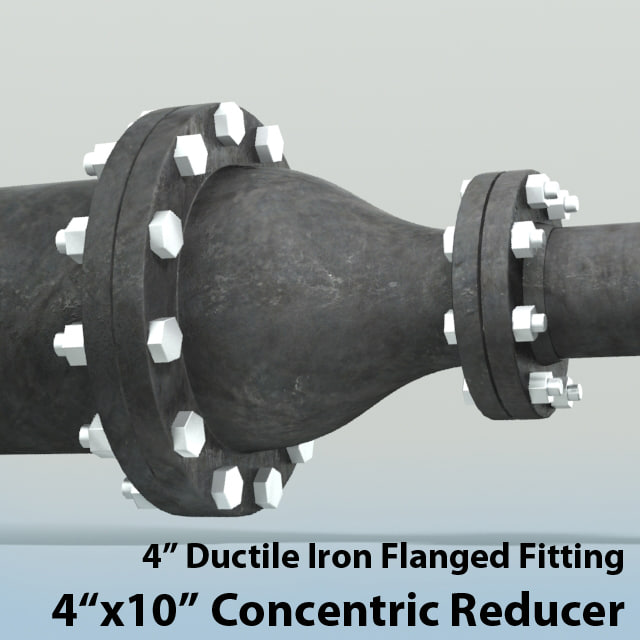 4in concentric reducer piping 3d obj