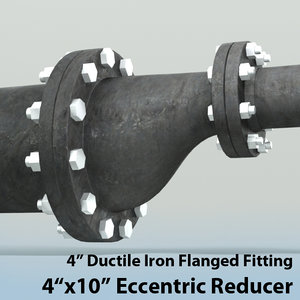 3d model 4in eccentric reducer piping