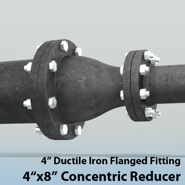 3d model 4in concentric reducer piping