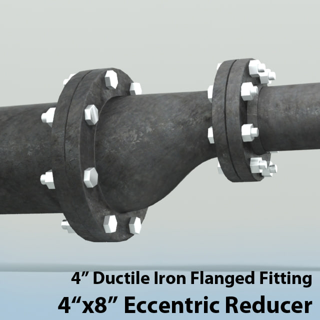 D in eccentric reducer piping model
