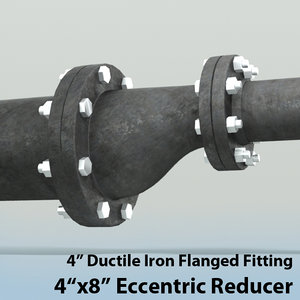 3d 4in eccentric reducer piping model