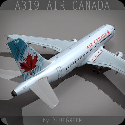 a319 air canada 3d c4d