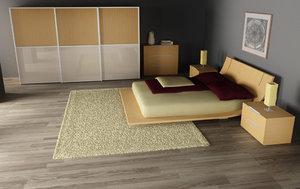 bedroom interior 03d 3d dxf