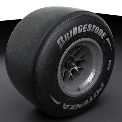 2010 formula 1 wheels 3d model