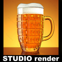 Beer glass keg Studio render