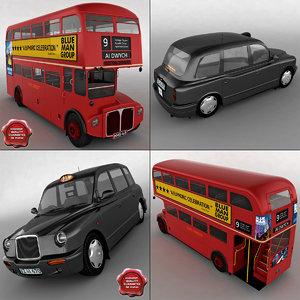 3d london taxi bus