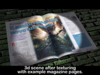 3d model of magazine book pages animation