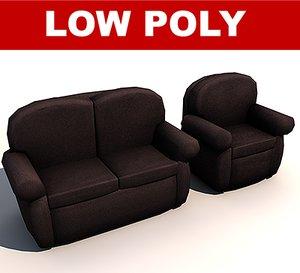 sofa ready games 3d model