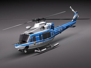 police bell 412 surveillance 3d model
