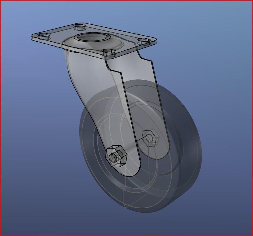 3d model heavy duty swivel caster