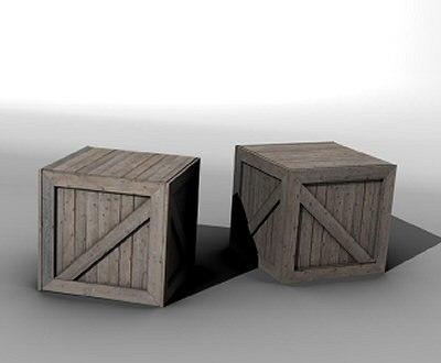 3d wooden crate model