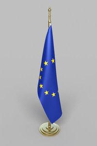 realistic european union flag 3d model