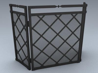 3d model fireplace screen