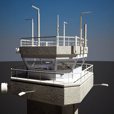 3d model of air traffic tower interior scene